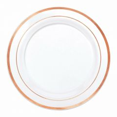 Rose Gold Dual Trim Small Plastic Plates (Pack of 6)