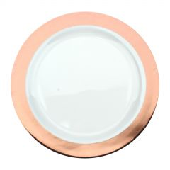 Rose Gold Trim Small Plastic Plates (Pack of 6)