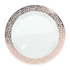 Rose Gold Lace Trim Small Plastic Plates (Pack of 6)