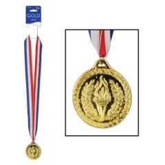 Plastic Olympic Gold Medal with Ribbon