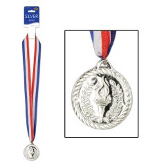 Plastic Olympic Silver Medal with Ribbon