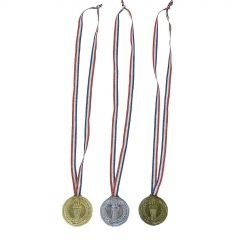 Olympic Torch Plastic Medals (Pack of 12)