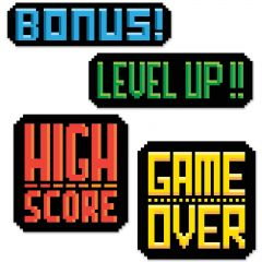 8-bit Action Sign Cutout Decorations (Pack of 4)