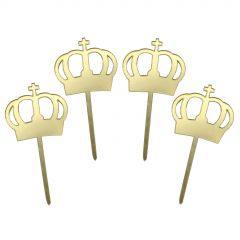 Gold Crown Cupcake Toppers (Pack of 4)