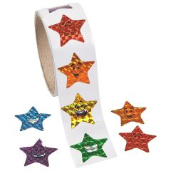 Prismatic Star Smiley Face Stickers (Roll of 100)