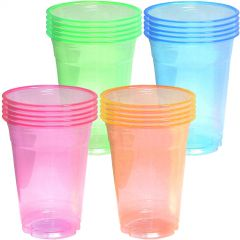 Neon Coloured Large Plastic Party Cups 473ml (Pack of 20)