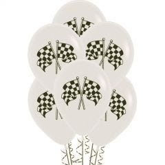 White Racing Flag Balloons (Pack of 6)