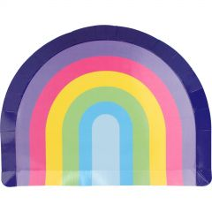 Pastel Rainbow Shape Large Paper Plates (Pack of 8)