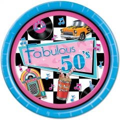 Fabulous 50's Rock and Roll Large Paper Plates (Pack of 8)