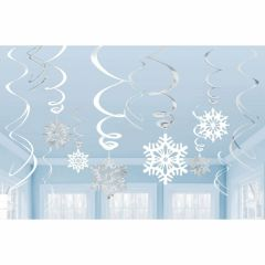 Snowflake Swirl Decorations (Pack of 12)