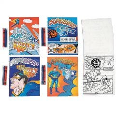 Superhero Activity Books with Crayons (Pack of 12)