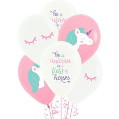 Unicorn Magical Fantasy Pink & White Balloons (Pack of 10)