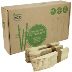Boxed Eco Wooden Cutlery Set (360 Pieces)