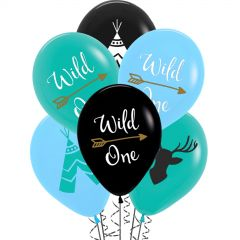 Wild One Boy Tribal Balloons (Pack of 6)