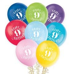Bunch of 8 latex helium quality coloured balloons featuring Happy 9th Birthday