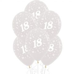 18th Jewel Crystal Clear Balloons (Pack of 6)