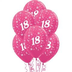 All Over 18th Birthday Fuchsia Balloons (Pack of 6)