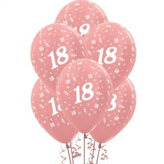 All Over 18th Birthday Rose Gold Balloons (Pack of 6)