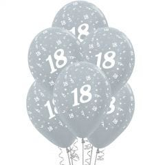 All Over 18th Birthday Silver Balloons (Pack of 6)