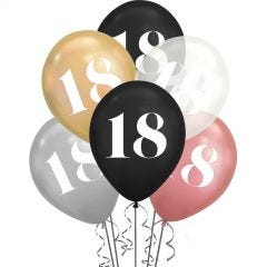 18th Birthday Shimmer Black, Clear & Metallic Mix Balloons (Pack of 6)