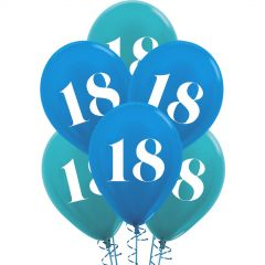 18th Birthday Shimmer Blue Mix Balloons (Pack of 6)