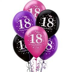 Pink Celebration 18th Birthday Balloons (Pack of 6)