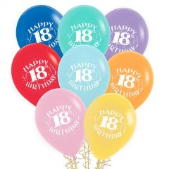 18th Birthday Balloons Assorted Colours (Pack of 8)