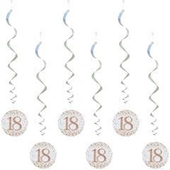 Sparkling Fizz 18th Holographic Rose Gold & White Swirls (Pack of 6)