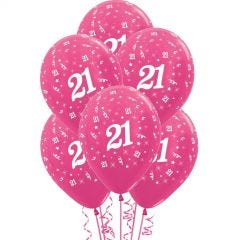 All Over 21st Birthday Fuchsia Balloons (Pack of 6)