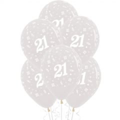 21st Jewel Crystal Clear Balloons (Pack of 6)