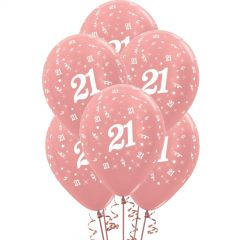 All Over 21st Birthday Rose Gold Balloons (Pack of 6)