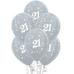 All Over 21st Birthday Silver Balloons (Pack of 6)