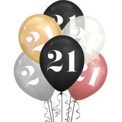 21st Birthday Shimmer Black, Clear & Metallic Mix Balloons (Pack of 6)