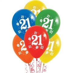 Pack of 10 Assorted 21st Party Balloons.