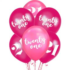 21st Birthday Shimmer Pink Mix Balloons (Pack of 6)
