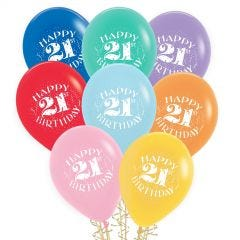 21st Birthday Balloons Assorted Colours (Pack of 8)