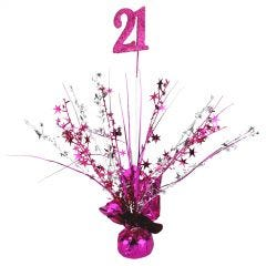 21st Hot Pink Balloon Weight Table Centrepiece