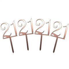 Mini 21 Rose Gold Cupcake Toppers (Pack of 4)