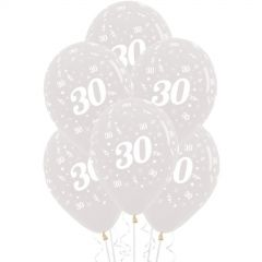 30th Jewel Crystal Clear Balloons (Pack of 6)
