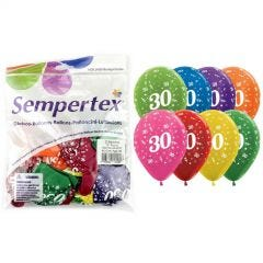 All Over 30th Birthday Assorted Balloons (Pack of 25)
