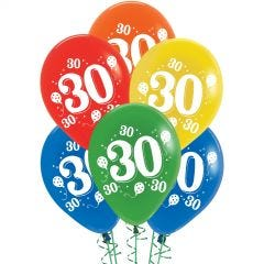 30th Party Balloons Assorted Colours (Pack of 10)