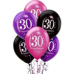 Pink Celebration 30th Birthday Balloons (Pack of 6)