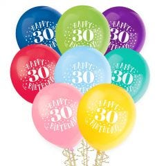 30th Birthday Balloons Assorted Colours (Pack of 8)