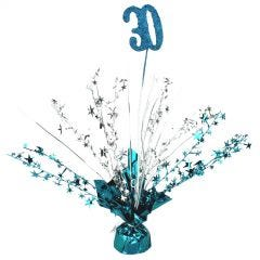 30th Teal Balloon Weight Table Centrepiece