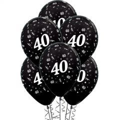 All Over 40th Birthday Black Balloons (Pack of 6)