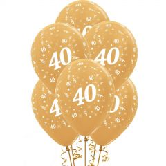 All Over 40th Birthday Gold Balloons (Pack of 6)