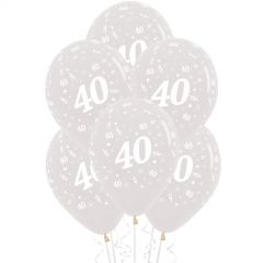 40th Jewel Crystal Clear Balloons (Pack of 6)