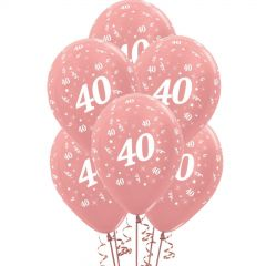 All Over 40th Birthday Rose Gold Balloons (Pack of 6)