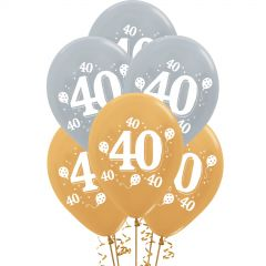 Silver & Gold 40th Party Balloons (Pack of 10)