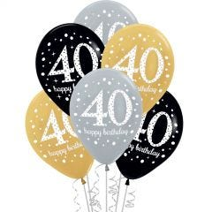 Pink Celebration 40th Birthday Balloons (Pack of 6)